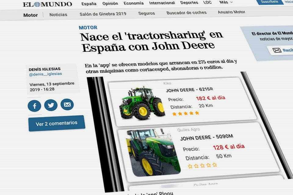 Tractorsharing en España con John Deere en la app ploou